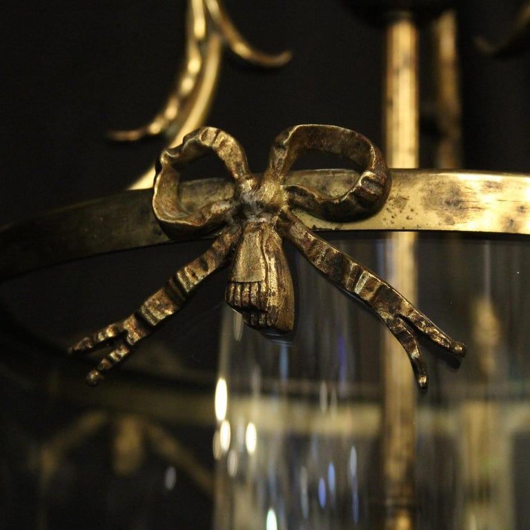 French Triple Light Bronze Convex Antique Lantern For Sale 2