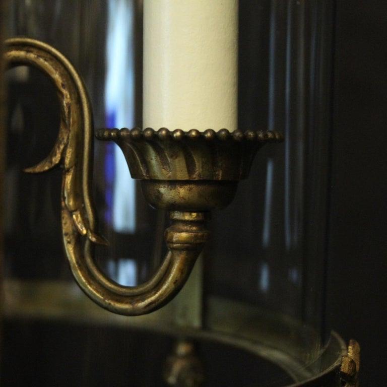 French Triple Light Bronze Convex Antique Lantern For Sale 4