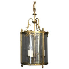 French Triple Light Bronze Convex Antique Lantern