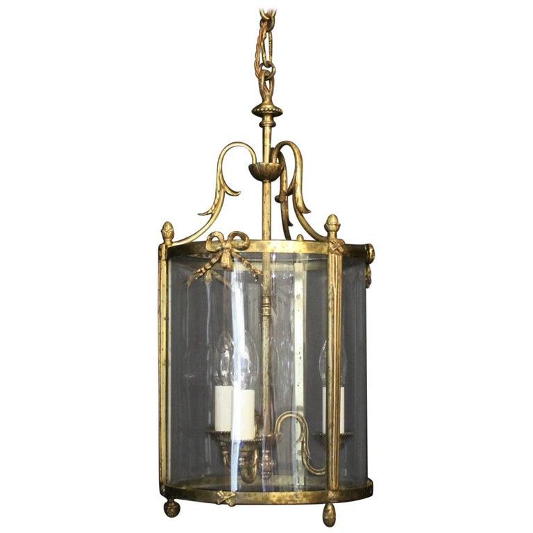 French Triple Light Bronze Convex Antique Lantern For Sale