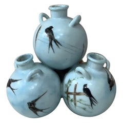 French Triple Vase Swallows, circa 1900