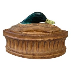 French Trompe L'oeil Porcelain Mallard Duck Pâté Tureen Pillivuyt Mehun