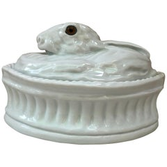French Trompe L'oeil White Porcelain Rabbit Pâté Tureen Pillivuyt Mehun