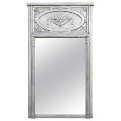 French Trumeau Mirror, Silvered Leaf, circa 1910