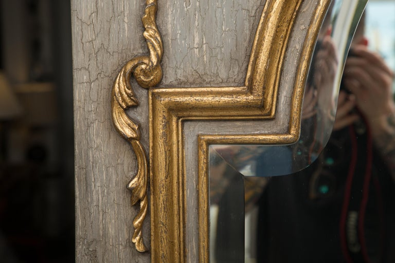 Woodwork French Trumeau Mirror with Crackled Finish and Gilt Highlights For Sale
