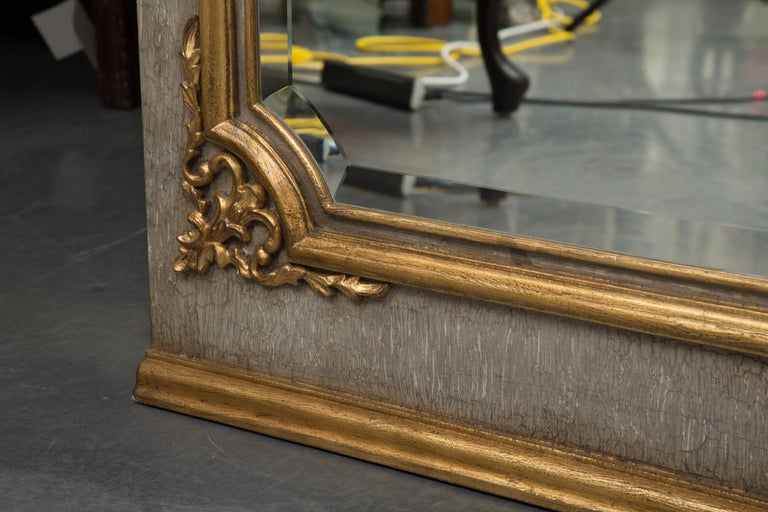 20th Century French Trumeau Mirror with Crackled Finish and Gilt Highlights For Sale