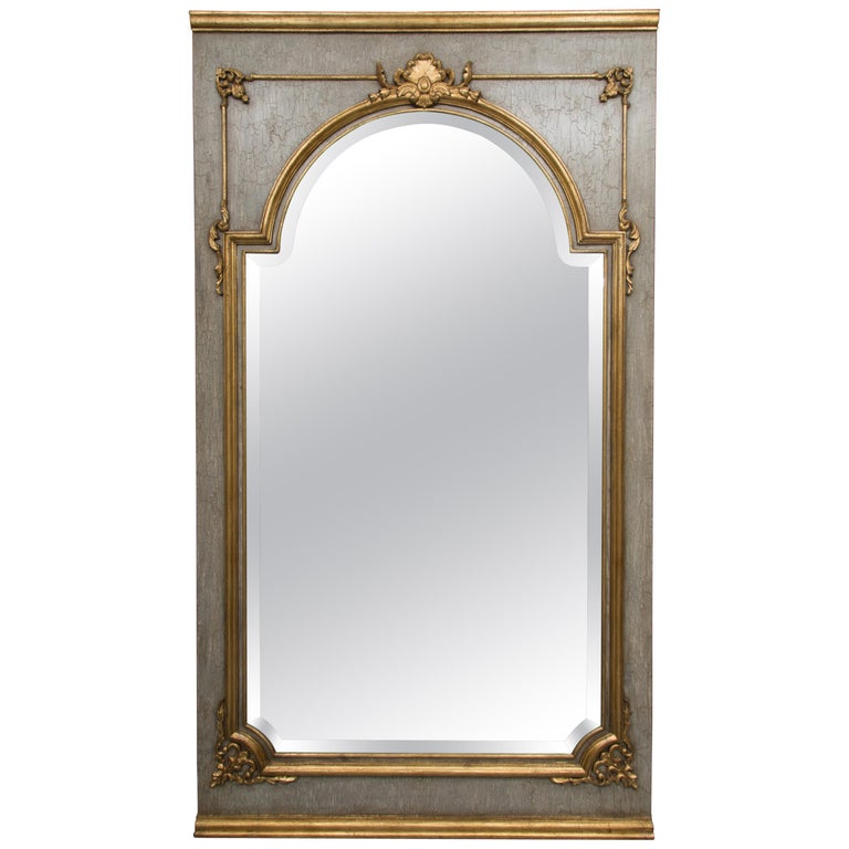 French Trumeau Mirror with Crackled Finish and Gilt Highlights For Sale
