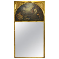 French Trumeau Mirror with Demi Lune Painting, 19th Century