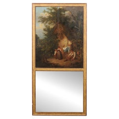French Trumeau Style Gilt Mirror w/Homestead Scene Oil Painting in Upper Panel