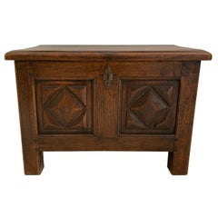 French Trunk Louis XIII Style, Varnished and in Walnut