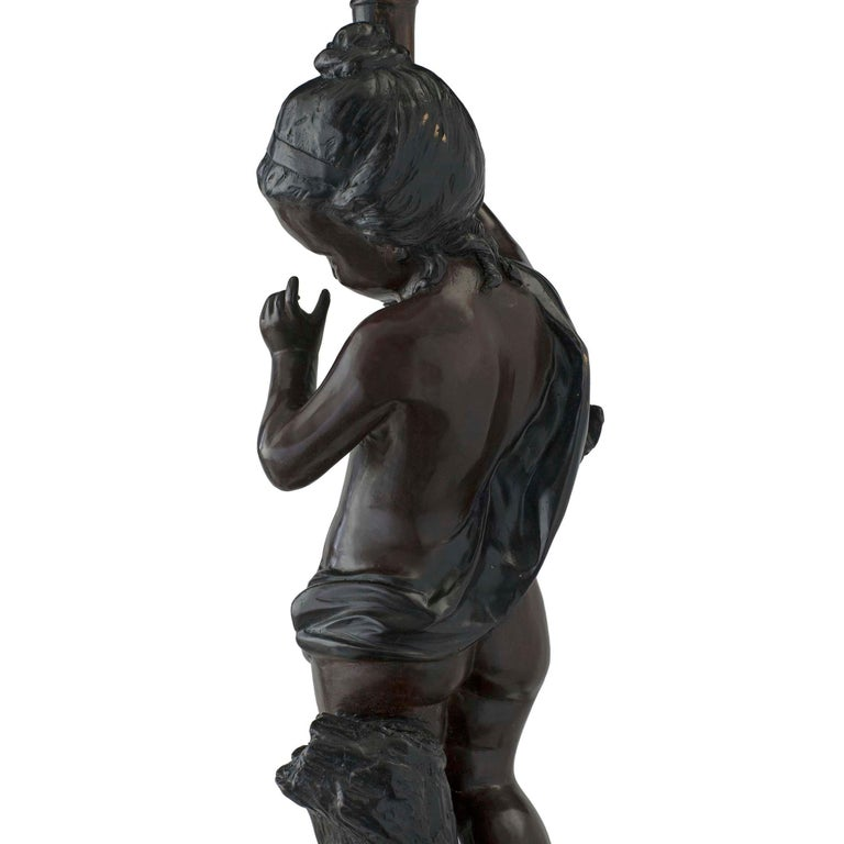 French Turn of the 20th Century Bronze Statues Mounted into Lamps, Signed Moreau For Sale 1