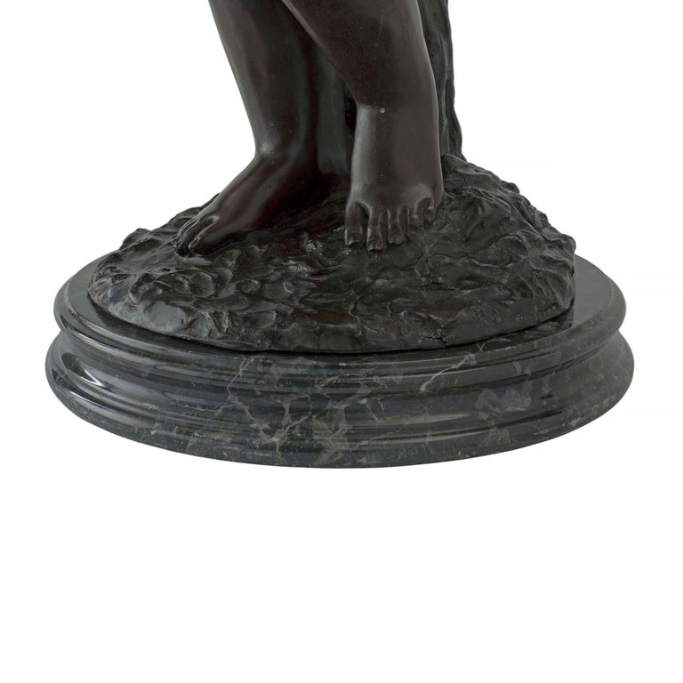 French Turn of the 20th Century Bronze Statues Mounted into Lamps, Signed Moreau For Sale 2
