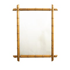French Turn of the Century 1900s Faux Bamboo Mirror with Light Brown Patina