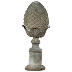 French Turn of the Century 1900s Zinc Pinecone Fragment with Acanthus Leaves