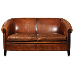 French Turn of the Century Brown Leather Sofa with Nailhead Trim, circa 1900