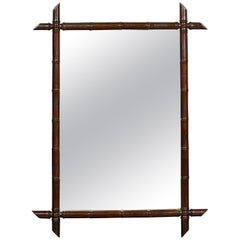 French Turn of the Century Faux Bamboo Mirror with Dark Brown Patina, circa 1900