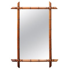 French Turn of the Century Faux Bamboo Mirror with Protruding Corners, 1900s