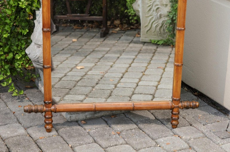 Country French Turn of the Century Faux Bamboo Walnut Mirror with Protruding Corners For Sale