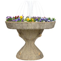 French Turn of the Century Faux Bois Fountain Planter