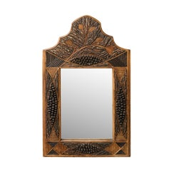 French Turn of the Century Folk Art Carved Wooden Mirror with Pine Cone Motifs