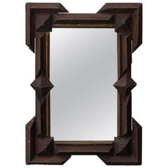 French Turn of the Century Hand Carved Wood Tramp Art Mirror with Dark Patina