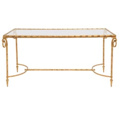 French Turn of the Century Louis XVI Style Ormolu and Glass Coffee Table