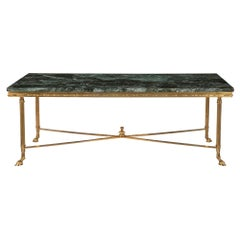French Turn of the Century Louis XVI Style Ormolu and Marble Coffee Table