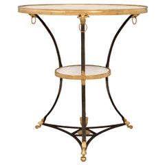 French Turn of the Century Louis XVI Style Bronze, Ormolu and Marble Side Table