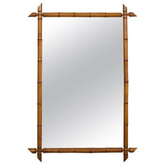 French Turn of the Century Rectangular Faux Bamboo Mirror with Brown Patina