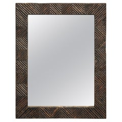 French Turn of the Century Rustic Twig Mirror with Geometric Motifs, circa 1900