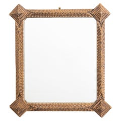 French Turn of the Century Tramp Art Hand Carved Mirror with Texture Design