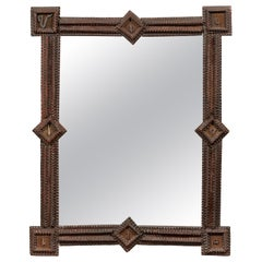 French Turn of the Century Tramp Art Mirror with Geometric Motifs, Two Available
