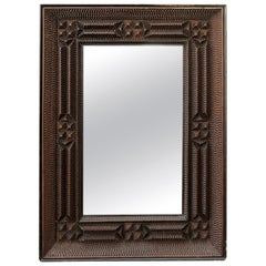 French Turn of the Century Tramp Art Wall Mirror with Brown Patina, circa 1900