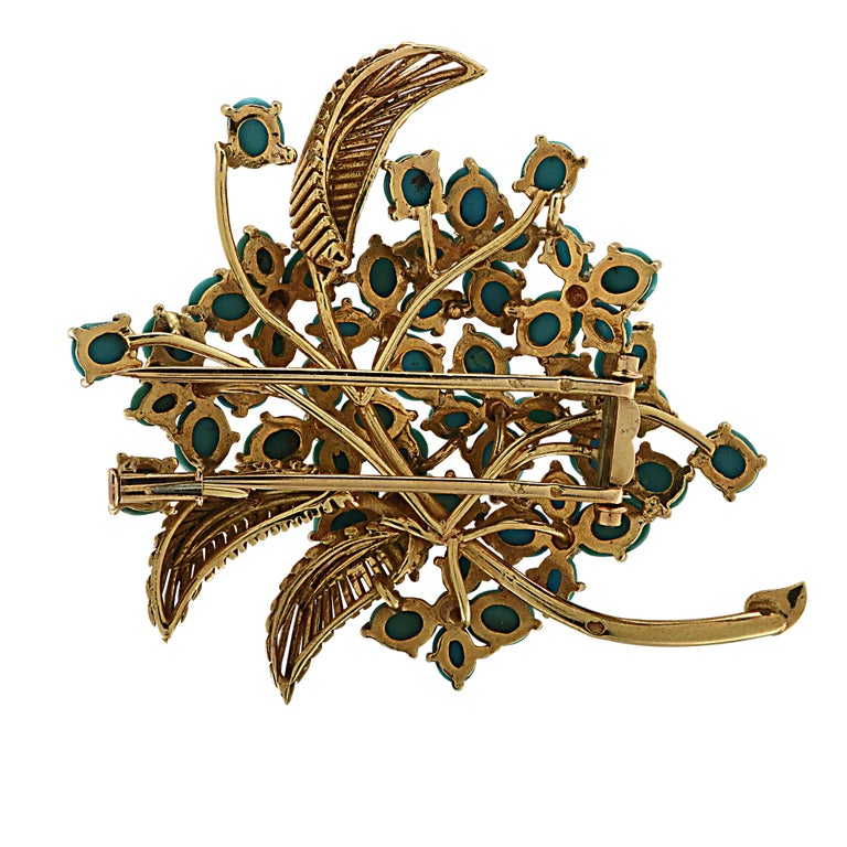 Modern French Turquoise and Diamond Yellow Gold Brooch Pin For Sale
