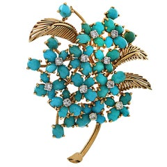 French Turquoise and Diamond Yellow Gold Brooch Pin
