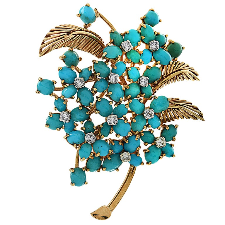 French Turquoise and Diamond Yellow Gold Brooch Pin For Sale