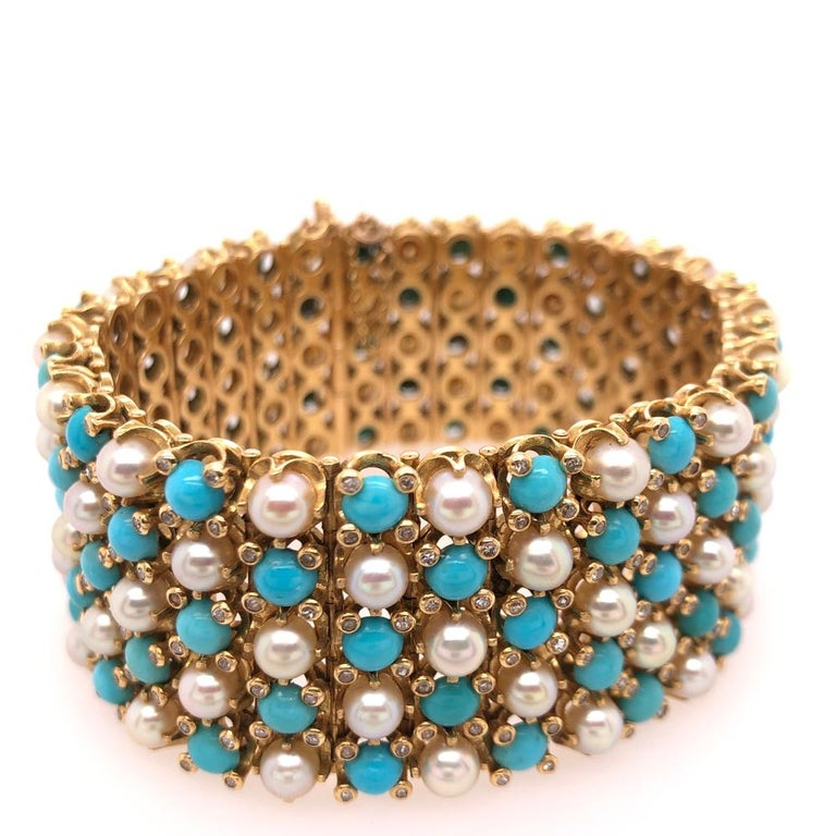 Romantic French Turquoise Pearl Diamond Yellow Gold Gate Bracelet For Sale