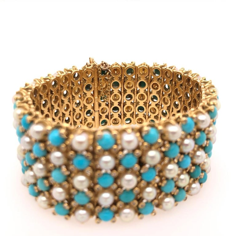 French Cut French Turquoise Pearl Diamond Yellow Gold Gate Bracelet For Sale