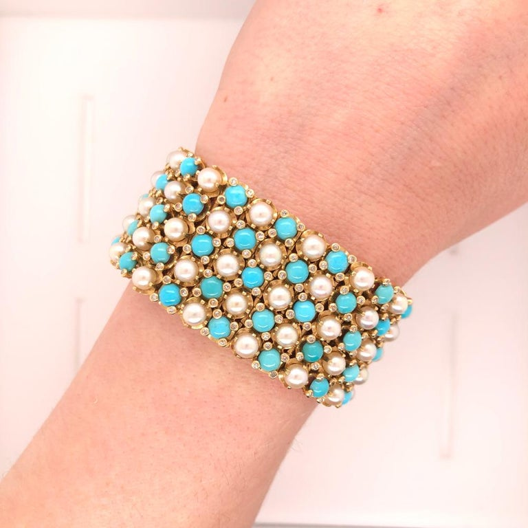 Women's French Turquoise Pearl Diamond Yellow Gold Gate Bracelet For Sale