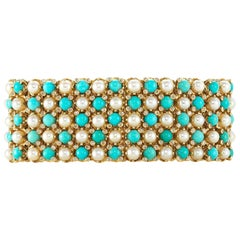 French Turquoise Pearl Diamond Yellow Gold Gate Bracelet