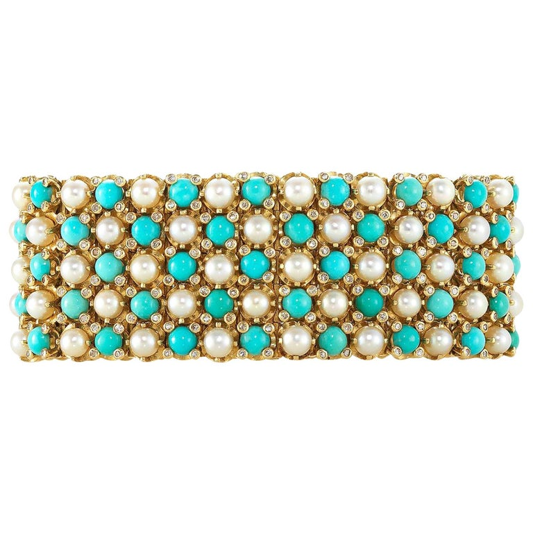French Turquoise Pearl Diamond Yellow Gold Gate Bracelet For Sale
