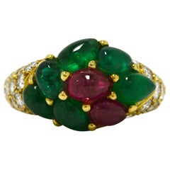 French Tutti Fruti Cocktail Ring Emerald Ruby Cluster Pave' Diamond Band