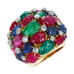 French Tutti Frutti Ruby, Emerald, Sapphire Carvings with Diamonds Cluster Ring