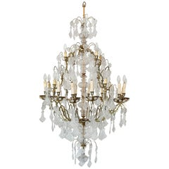 French Twenty-Light Baccarat Crystal and Brass Chandelier, Late 19th Century