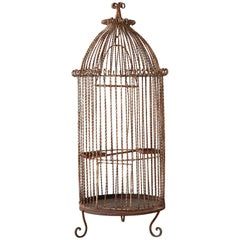 French Twisted Wrought Iron Standing Bird Cage
