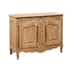 French Two-Paneled Door & Nicely Carved Bleached Wood Cabinet, Mid-20th Century