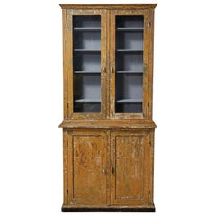 French Two Piece China Cabinet Hutch with Glass Doors