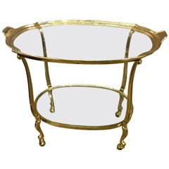 French Two-Tier All Brass Barcart Bar Tea Cart