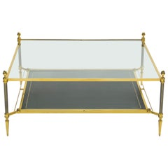 French Two-Tier Maison Jansen Brass Leather Glass Coffee Table, 1970s