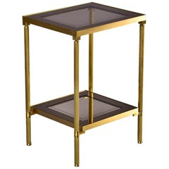 French Two Tier Side Table with Brass Frame and Glass Tops with Mirrored Borders